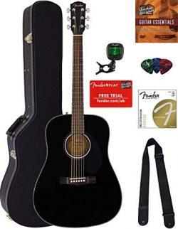 Fender CD-60S Dreadnought Acoustic Guitar – Black Bundle with Hard Case, Tuner, Strap, Str ...