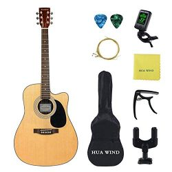 HUAWIND 41 inch Acoustic Guitar Steel Strings Cutaway Starer Kit with Gig Bag, Tuner, Strings, S ...