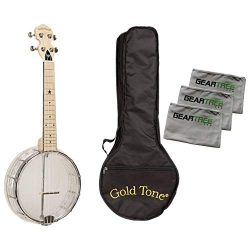 Gold Tone Little Gem Diamond Banjo Ukulele Bundle w/Bag & Cloth Pack