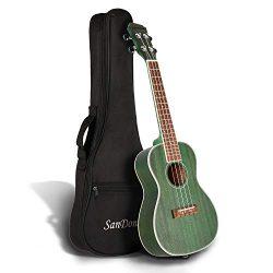 SANDONA Concert Ukulele 24 Inch Kit UKCB-MH | Sapele Solid Wood | Complete Concert Set with Stra ...