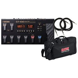 Boss GT-100 Guitar Multi-Effects Pedal w/ DLX Pedal Bag and 2 Guitar Cables