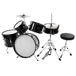 Acoustic Drum Set, 5Pcs Full Size Drum Kit Stool Drumsticks Pedal Beginners Set Percussion Music ...