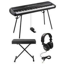 Korg SP280BK 88 Weighted Key Digital Piano with Stand includes Knox Bench and Headphones