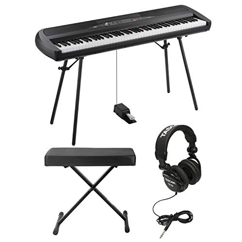Korg SP280BK 88 Weighted Key Digital Piano with Stand includes Knox