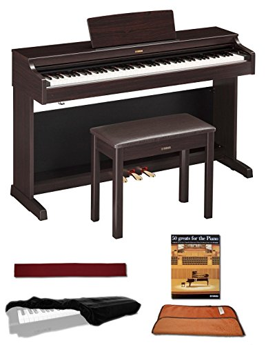 Yamaha YDP163R Rosewood 88 Weighted Keys Digital Piano keyboard Bundle with Matching Bench, Juli ...