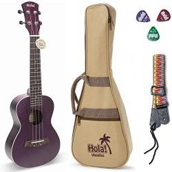 Concert Ukulele Bundle, Deluxe Series by Hola! Music (Model HM-124PP+), Bundle Includes: 24 Inch ...