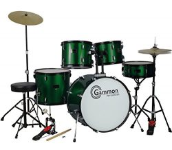 Metallic Green Drum Set Full Size 5-Piece Kit with Cymbals Stands Throne and Sticks