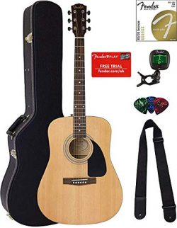Fender FA-100 Dreadnought Acoustic Guitar – Natural Satin Bundle with Hard Case, Tuner, St ...