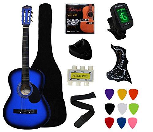 YMC 38″ Blue Beginner Acoustic Guitar Starter Package Student Guitar with Gig Bag,Strap, 3 ...