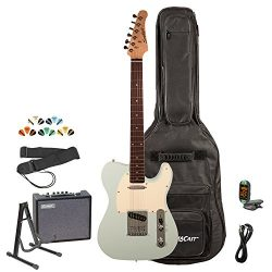 Sawtooth ST-ET-SGRW-KIT-3 Electric Guitar, Surf Green with Aged White Pickguard