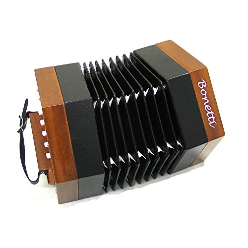 Bonetti Concertina 30 Key, 60 Reed Natural Color Accordion with Case