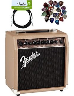 Fender Acoustasonic 15 Acoustic Guitar Amplifier – Brown and Wheat Bundle with Instrument  ...