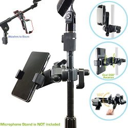 AccessoryBasics Music Boom Mic Microphone Stand Smartphone Mount w/360° Swivel Adjust Holder for ...