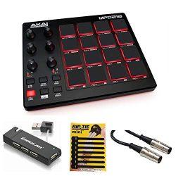 Akai Professional MPD218 MIDI USB Pad Drum Beat Controller + 4 Port USB Hub + MIDI Cable & P ...