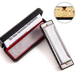 JSL Harmonica, Standard Diatonic Key of C 10 Holes 20 Tones Blues Mouth Organ Harp For Kids, Beg ...