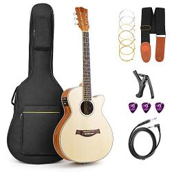 Vangoa 36 Inch 3/4 Acoustic Electric Cutaway Guitar Folk Guitar Spruce wood Travel Guitar, 2 Ban ...