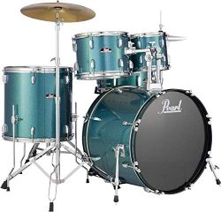Pearl Roadshow 5-piece Complete Drum Set with Cymbals – 22″ Kick – Aqua Blue G ...