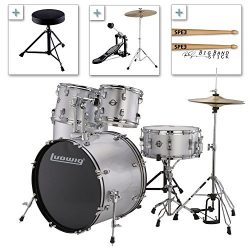 Ludwig Accent Drive Series LC175 Complete Drum Package with Cymbals, Hardware, Drum Throne, Chai ...