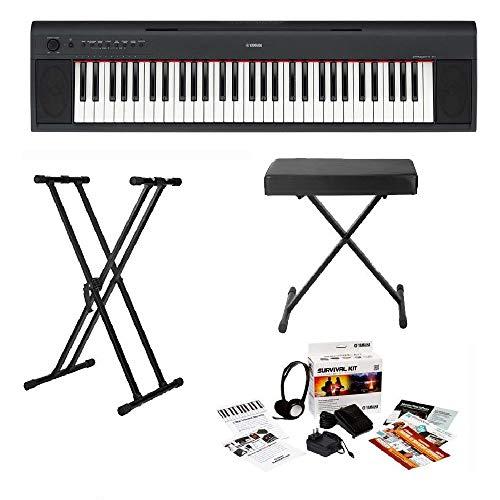 Yamaha NP32 76-Key Lightweight Portable Keyboard Bundle with Knox Keyboard Stand, Keyboard Bench ...