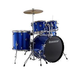 Ludwig Accent Drive Blue 5-Piece Drum Set (Includes Hardware, Throne, Pedal, Cymbals, Sticks and ...