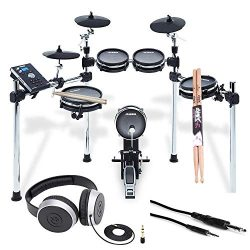 Alesis COMMAND MESH KIT Eight-Piece Electronic Drum Kit with Pair of Drumsticks + Samson SR550 S ...