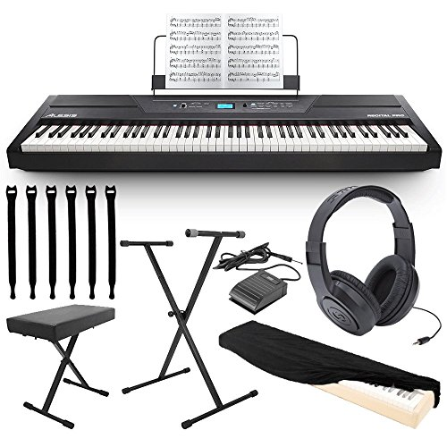 Alesis Recital Pro 88-Key Digital Piano with Hammer-Action Keys + On Stage Keyboard Dust Cover + ...