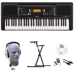 Yamaha PSR-E363 EPY 61-Key Keyboard Pack with Headphones, Power Supply, Secure Bolt-On Stand, eM ...