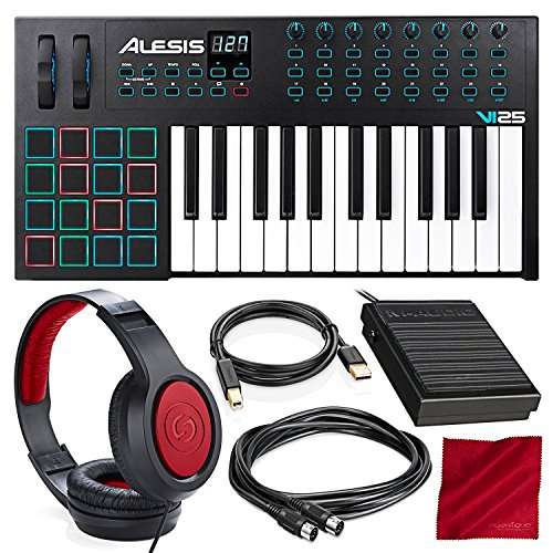 Alesis VI25 25-Key USB/MIDI Keyboard Controller with Sustain Pedal, Closed-Back Headphones, and  ...