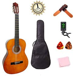 Classical Guitar Acoustic Guitar 39 inch Full Size Starter Kits for Beginners with Waterproof Ba ...