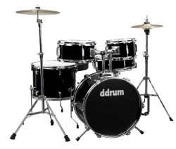 ddrum D1 Junior Complete Drum Set with Cymbals, Midnight Black