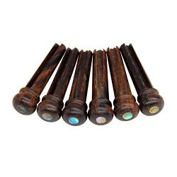 Blisstime 6pcs Rosewood Guitar Bridge Pins Inlaid Abalone Dot Acoustic Guitar Replacement Parts