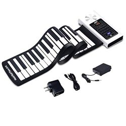 Electric Roll Up Piano, Safeplus Portable Foldable 61 Keys Flexible Soft Silicone Electronic Mus ...