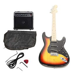 ISIN Full Size Electric Guitar for Music Lover Beginner with Amp and Accessories Pack Guitar Bag ...