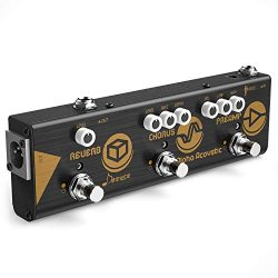 Donner Multi Effect Pedal Chain Alpha Acoustic 3 Guitar Effect Modes Acoustic Preamp, Chorus and ...