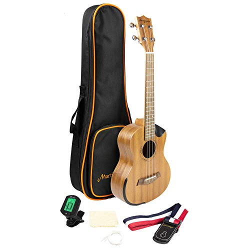 Martin Smith Tenor Ukulele Starter Kit with Aqulia Strings – Includes online lessons, tuner, bag ...