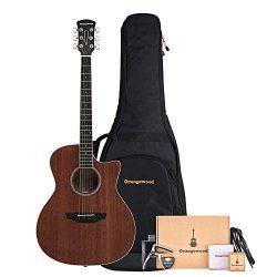 Orangewood 6 String Acoustic Guitar Pack Right, Mahogany Cutaway OW-REY-M-AK