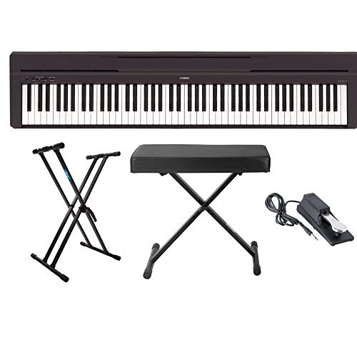 yamaha p45b 88 key digital piano with knox gear keyboard stand adjustable bench and sustain. Black Bedroom Furniture Sets. Home Design Ideas