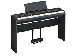 Yamaha P125 Digital Piano Deluxe Bundle with Furniture Stand and 3-Pedal Unit, Black