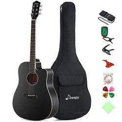 Donner DAG-1CB Black Beginner Acoustic Guitar Full Size, 41″ Cutaway Guitar Bundle with Gi ...