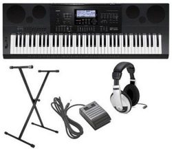 Casio CWK7600 4 pc Ultra-Premium Keyboard Package With Headphones, Stand, Sustain Pedal and Powe ...