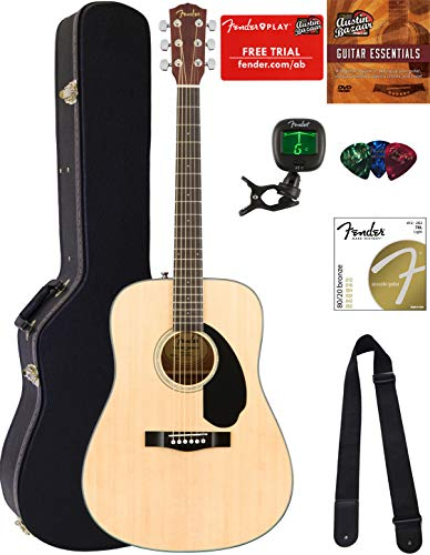 Fender CD-60S Dreadnought Acoustic Guitar – Natural Bundle with Hard Case, Tuner, Strap, S ...