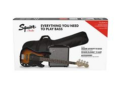Squier by Fender Affinity Series Precision Bass PJ Beginner Pack, Laurel Fingerboard, Brown Sunb ...
