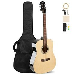 ARTALL 41 Inch Handmade Solid Wood Acoustic Dreadnouht Guitar Beginner Kit, Glossy Black