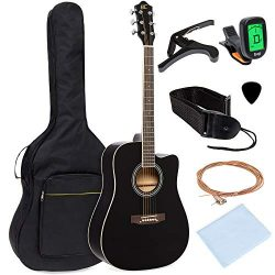 Best Choice Products 41in Full Size Beginner Acoustic Cutaway Guitar Kit Musical Instrument Bund ...