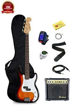 Stedman Pro Beginner Series Bass Guitar Bundle with 15-Watt Amp, Gig Bag, Instrument Cable, Stra ...