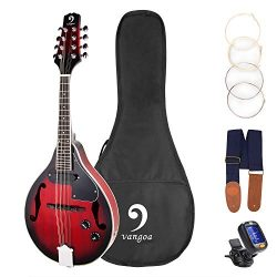 Vangoa A Style 8 Strings Acoustic Electric Mandolin Redburst Mahogany with Gig Bag Picks Extra S ...
