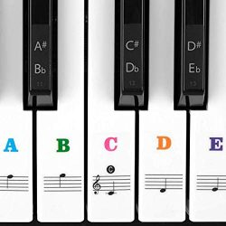 Piano Stickers for Keys For 49/61 / 76/88 Key Keyboards, Transparent Removable with Free Sheet o ...