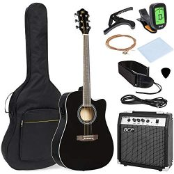 Best Choice Products 41in Full Size Acoustic Electric Cutaway Guitar Set w/10-Watt Amp, Capo, E- ...