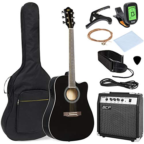 best choice products 41in full size acoustic electric cutaway guitar set w 10 watt amp capo e. Black Bedroom Furniture Sets. Home Design Ideas