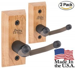 Ukulele Hanger Wooden Wall Mount Made in the USA or Mandolin Hanger – Cherry Hardwood &#82 ...